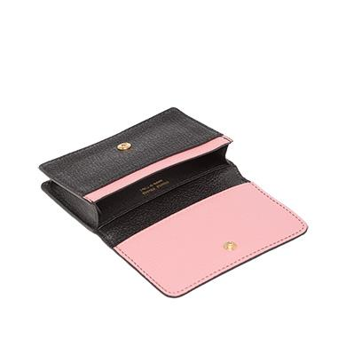2019a8f64c4b Miu Miu Madras Leather Business Card Holder In Black Rose