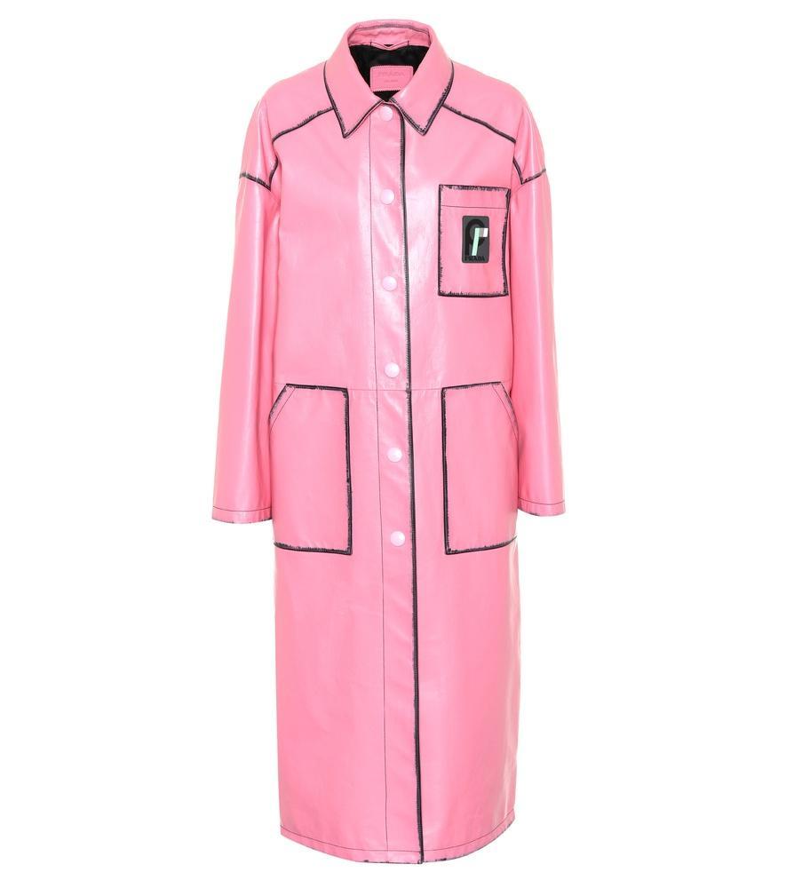 Prada Leather Coat In Pink