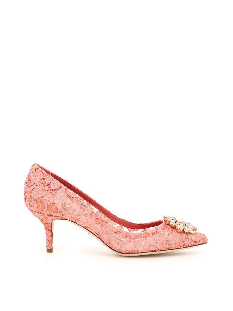 9fbcdcbe6ecc Dolce   Gabbana Bellucci Crystal-Embellished Lace Pumps In Pink ...