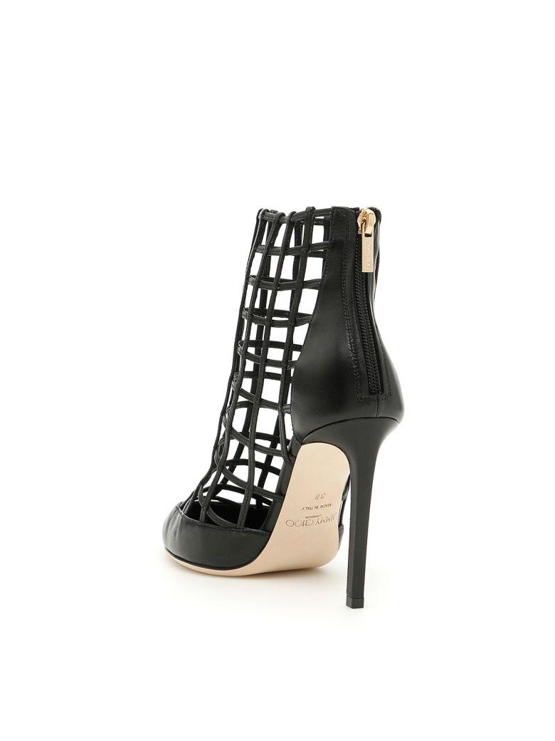 f29e724beed2 Jimmy Choo Women s Sheldon 100 Caged Leather High-Heel Booties In Black