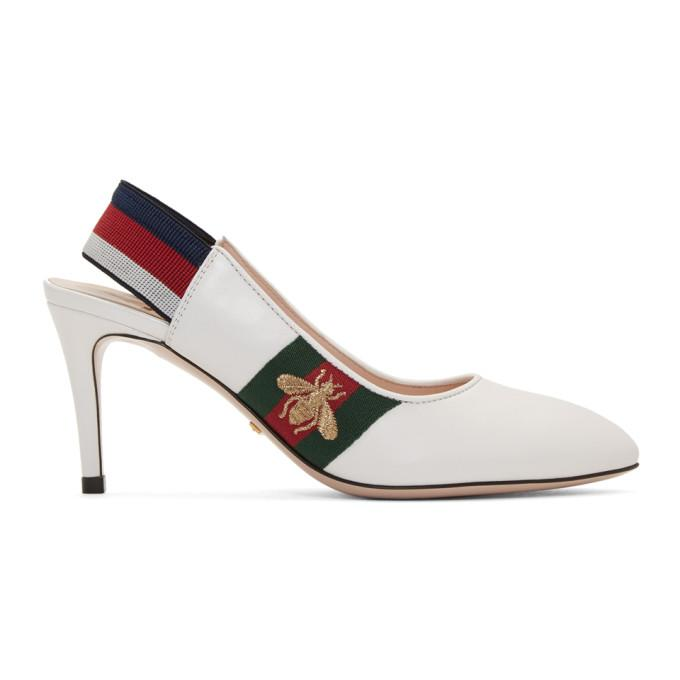 cc1556c551c Gucci Women s Sylvie Leather Web Mid Heel Slingback Pumps In White ...