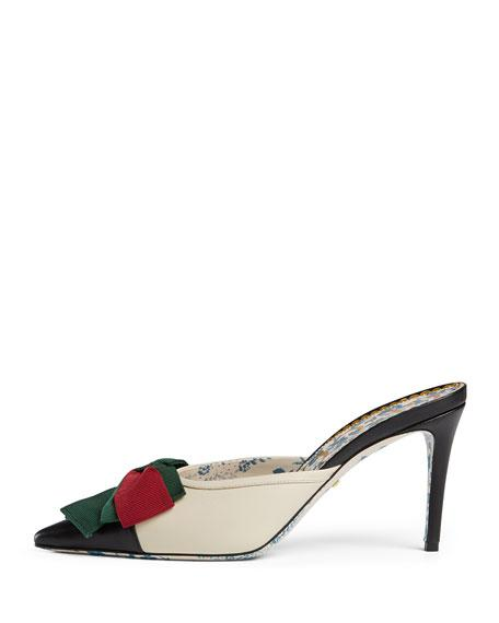 Gucci Women's Sackville Leather Bow Mid-Heel Mules In White