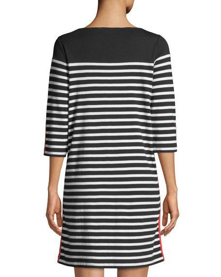Joan Vass Plus Size Colorblock Striped 3/4-Sleeve Dress In Black ...