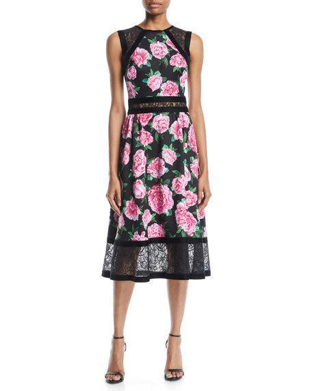 Floral Print Neoprene Midi Dress W Lace Details In Blackpink