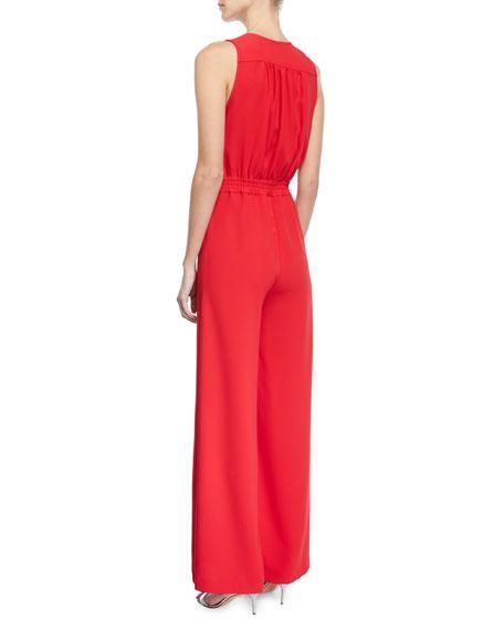 8fbf35836b67 Carolina Ritzler Irma Sleeveless Plunging Wide-Leg Jumpsuit In Red ...