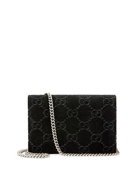 ebddd8eed564 Gucci Dionysus Velvet Gg Supreme Wallet On Chain