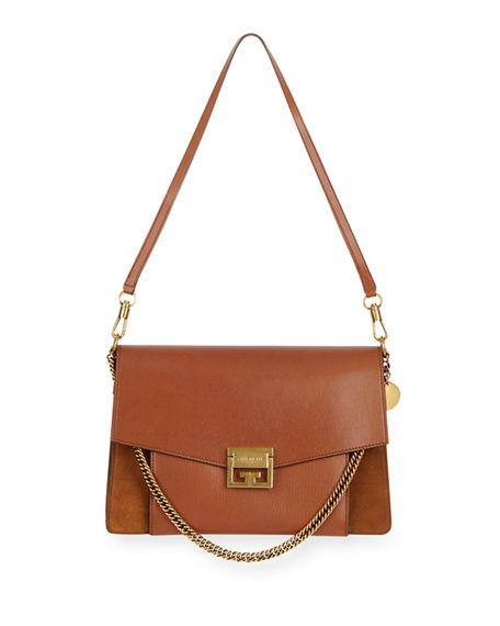 b8acde39e15b Givenchy Gv3 Medium Pebbled Leather Shoulder Bag - Golden Hardware In Brown