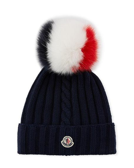 0336704c6f2 Moncler Berretto Knit Beanie Hat W  Fur Pompom In Black