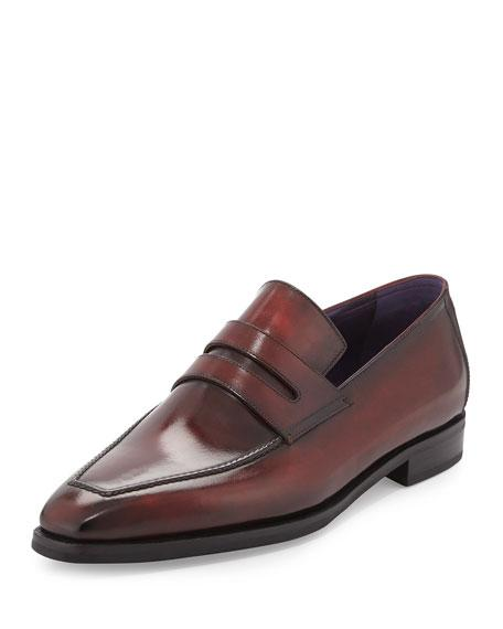 Berluti Andy Burnished Leather Loafer, Red In Burgundy