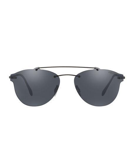 a481fbd140a Prada Men s Ps55Ts Rimless Aviator Sunglasses In Black