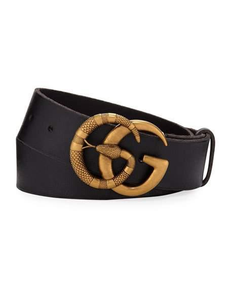 48de716a943 Gucci Leather Belt With Double G Buckle With Snake In Black