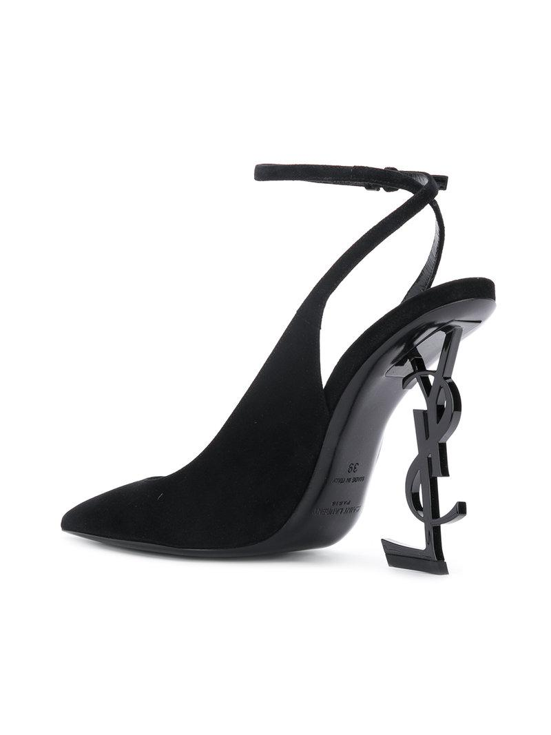 ce74d5a5193 Saint Laurent Opyum Slingback Pumps In Suede With Black Heel
