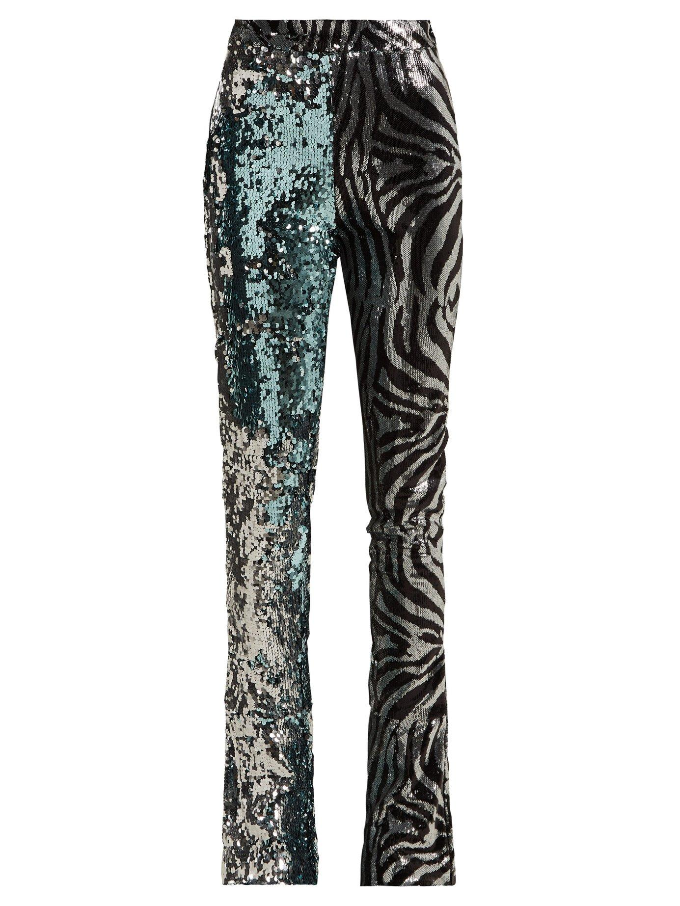 fdfef8dc44f Halpern - Sequined Slim Leg Flared Trousers - Womens - Light Blue ...