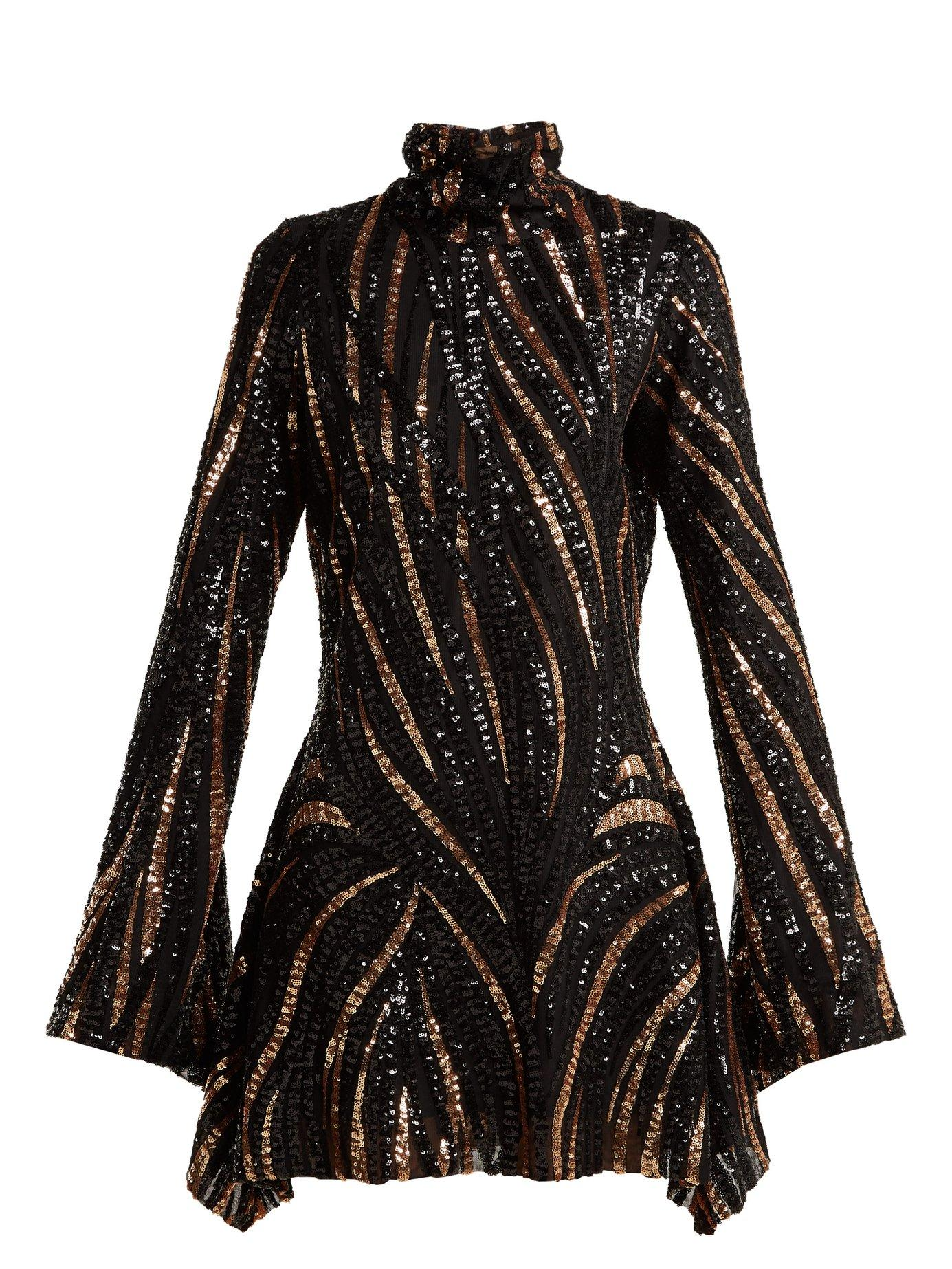 0844be40cd1 Halpern Sequined Mini Dress In Black | ModeSens