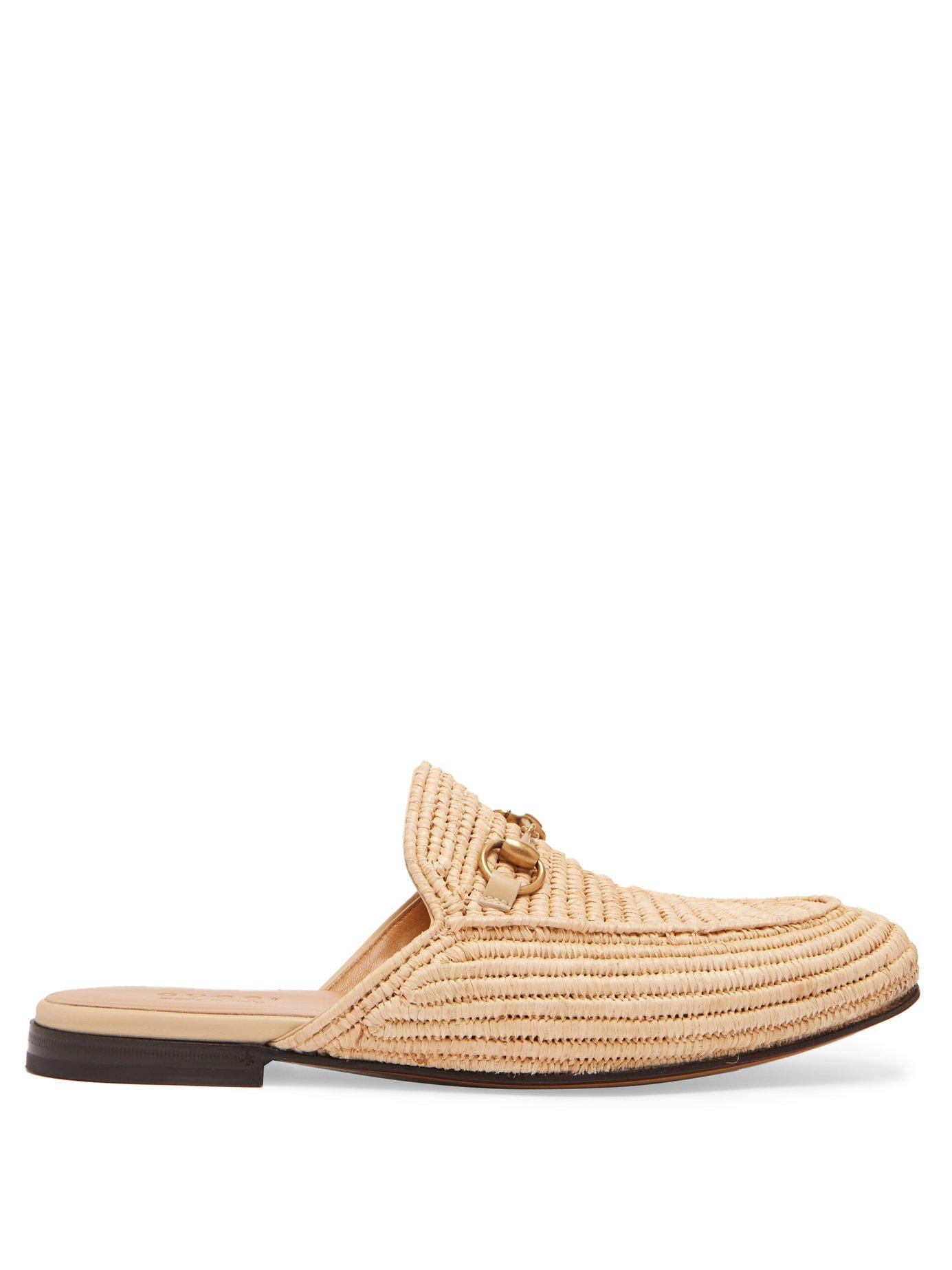 9a6e29a1a Gucci Princetown Raffia Backless Loafers In Neutrals | ModeSens