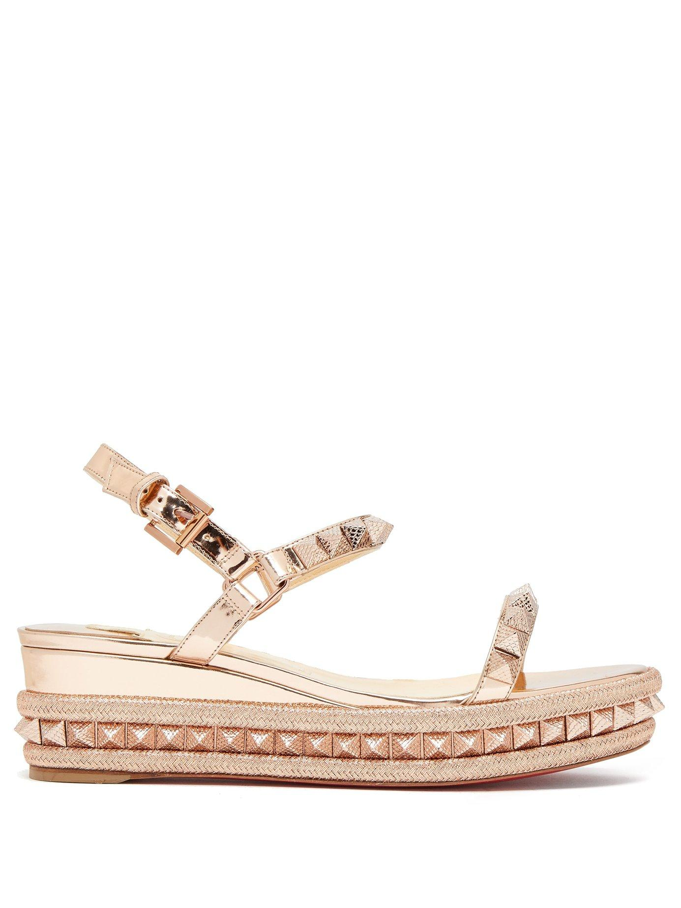 reputable site f6814 619ef Cataclou 60 Embellished Patent-Leather Wedge Espadrille Sandals in Neutral