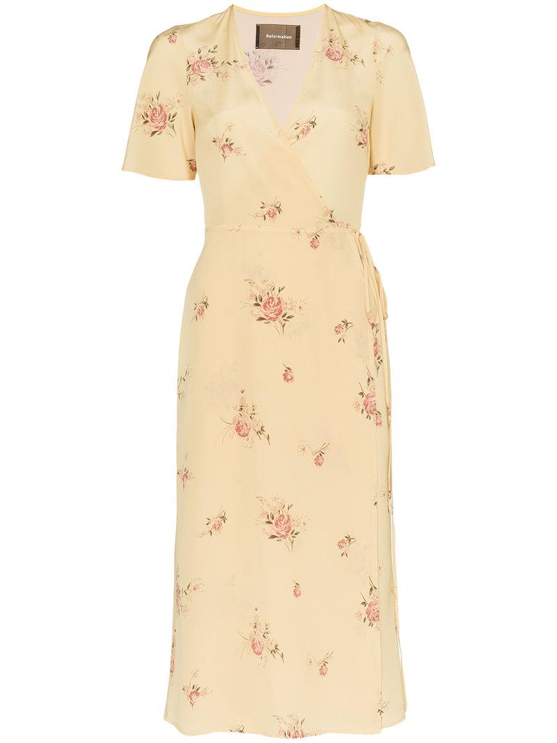ab70164cee0 Reformation Jensen Short Sleeve Silk Dress - Farfetch In Yellow ...
