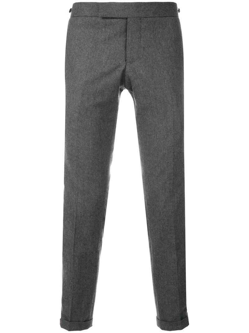 0179f94dbd0 Thom Browne Seamed Elastic Stripe Skinny Wool Trouser - Grey