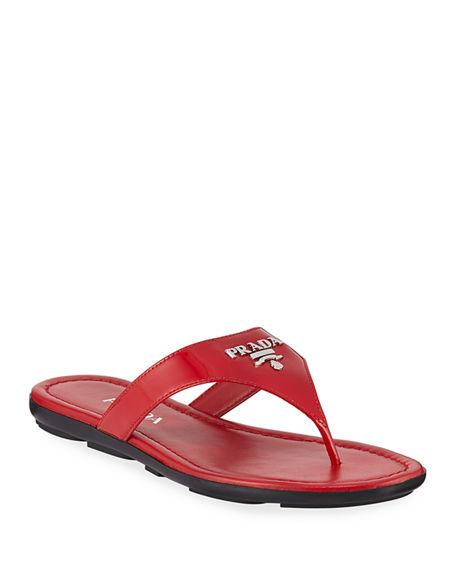 Prada Patent Logo Thong Sandals In Red