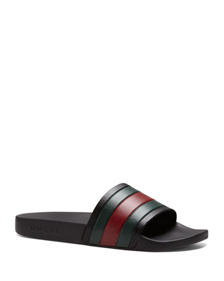 Gucci Pursuit '72 Rubber Slide Sandals In Black/Green/Red