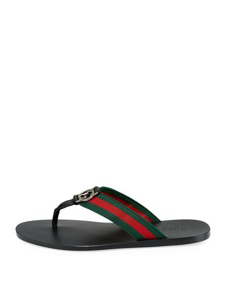 f937ab9b1f3 Gucci Web   Leather Thong Sandals