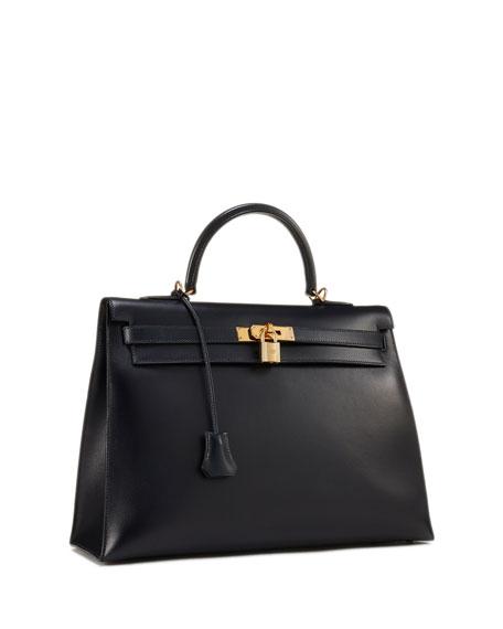 c59d2b1bf23c Hermes Vintage Kelly 35 Chevre Satchel Bag In Blue
