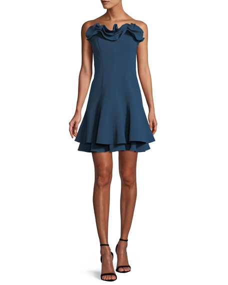 ffe0c8dbf812 Cinq À Sept Woman Tansy Strapless Ruffled Crepe Mini Dress Storm Blue
