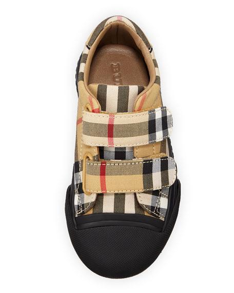 Burberry Belside Vintage Check Sneakers, Toddler In Beige