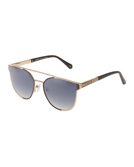 99f75724490a Balmain Round Metal Sunglasses In Black Gold
