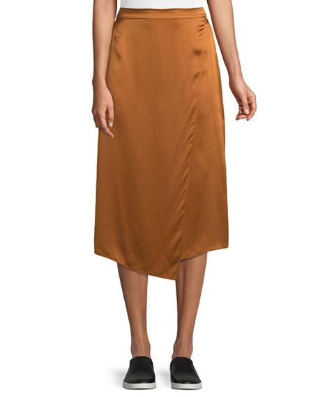 ecb713db7 Vince Draped Panel Silk Midi Skirt In Light Copper | ModeSens
