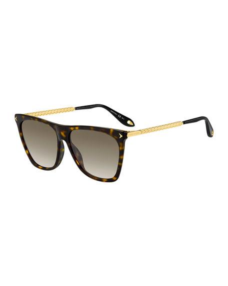 a9c6acc1d377 Givenchy Square Acetate & Metal Gradient Sunglasses In Dark Havana ...
