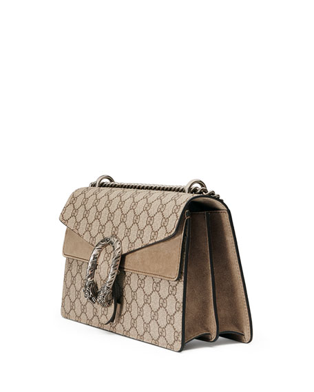 55af855468a581 Gucci Small Dionysus Gg Supreme Canvas & Suede Shoulder Bag In Beige ...