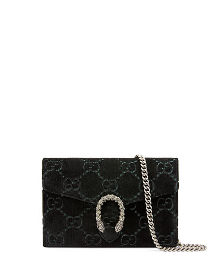 9ce1ab3b939a Gucci Dionysus Velvet Gg Supreme Wallet On Chain