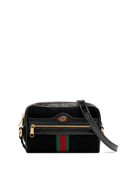 Gucci Ophidia Small Suede & Leather Crossbody Bag - Black In Nero/ Nero/ Vert Red Vert