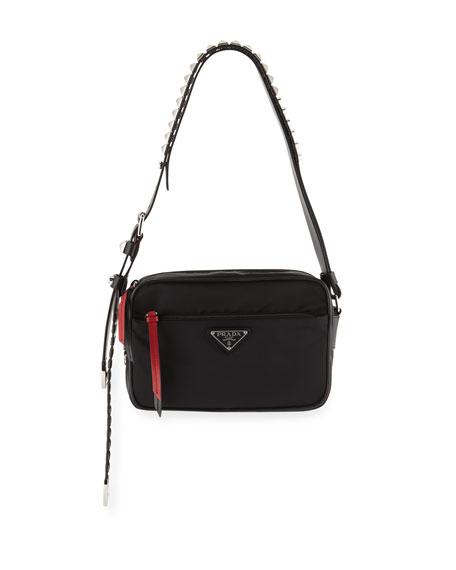 6b1f89f6df3087 Prada Nylon Shoulder Bag With Studding In Black/Red | ModeSens