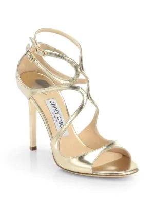 d78028e95a7a Jimmy Choo Lang Strappy Mirror Leather Sandals In Gold