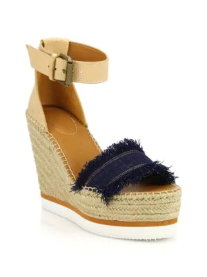 315f967ca55 See By ChloÉ Glyn Leather & Frayed Canvas Espadrille Wedge Platform ...