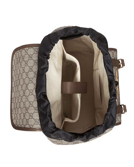 8fff4760c Gucci Leather-Trimmed AppliquÉD Monogrammed Coated-Canvas Backpack In  Multicolour