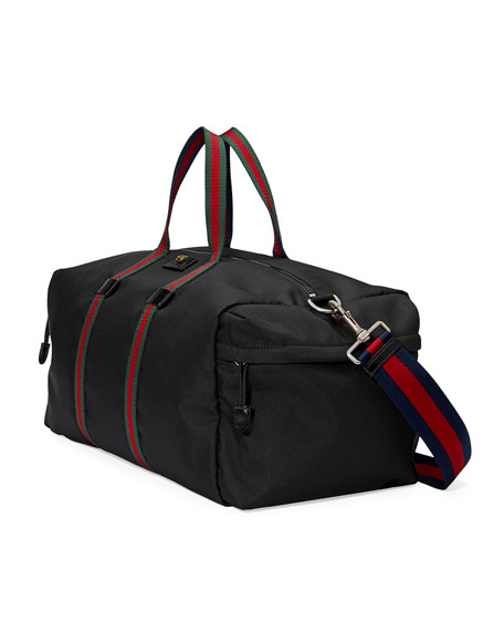 5c24f00079a739 Gucci Webbing-Trimmed Coated-Canvas Holdall In Black | ModeSens