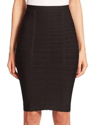 d2cf6f18e Herve Leger Signature Essential Bandage Skirt, Alabaster In Black ...