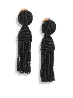 26a0bbe8d465c OSCAR DE LA RENTA. Beaded Short Tassel Clip Earrings