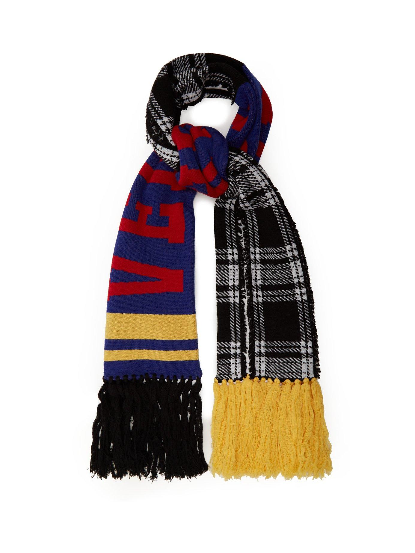 3d929f0bd Versace Checked Logo-Intarsia Wool Scarf In Multi | ModeSens