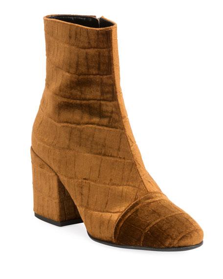 4a3e63b1b58e88 Dries Van Noten Embossed Velvet Ankle Booties In Brown