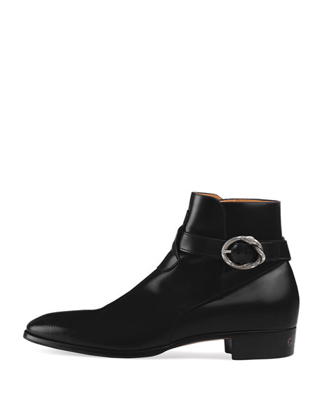 c6cdcf7e99a Gucci Leather Ankle Boot With Kingsnake Buckle In 1000 Nero   ModeSens