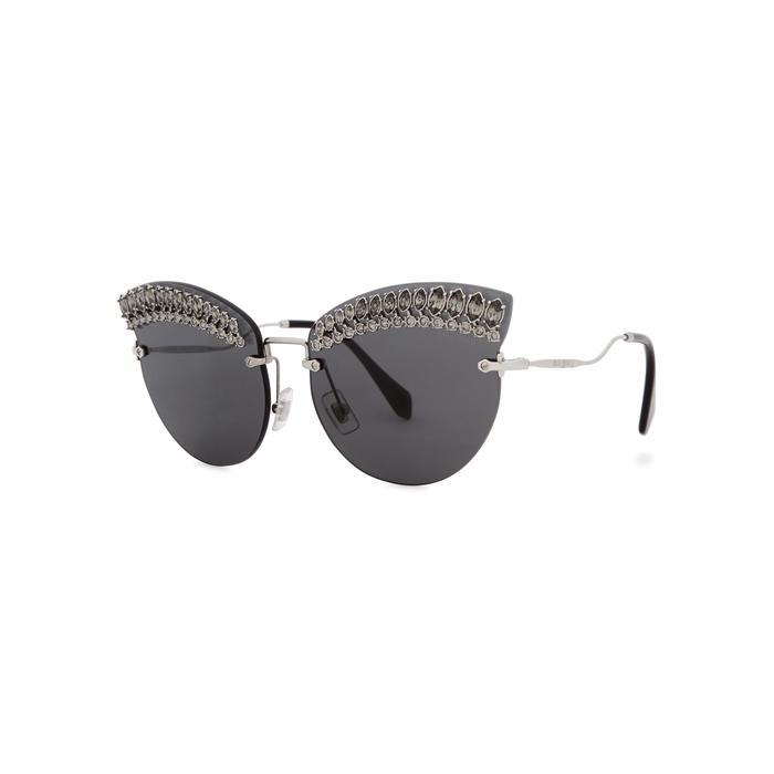 57056d0e9c9 Miu Miu Scenique Embellished Cat-Eye Sunglasses In Silver