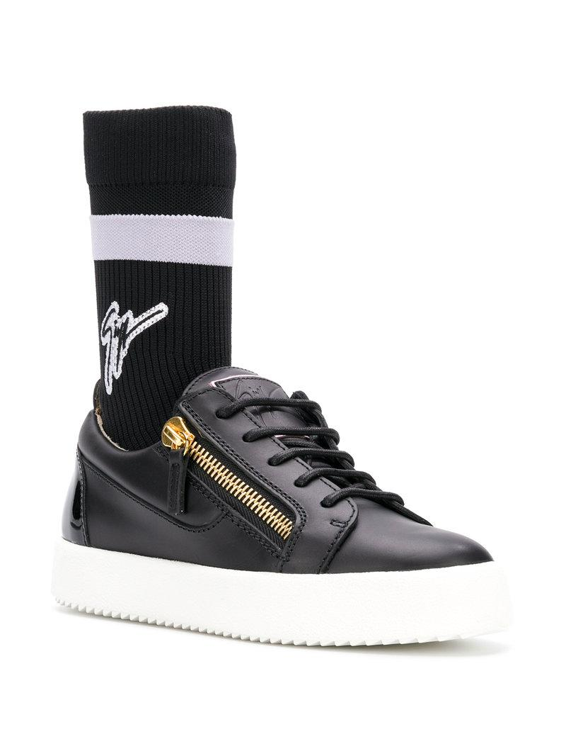 bba50c4483021 Giuseppe Zanotti Kriss Plus Signature-Sock Leather Mid-Top Sneakers In Black
