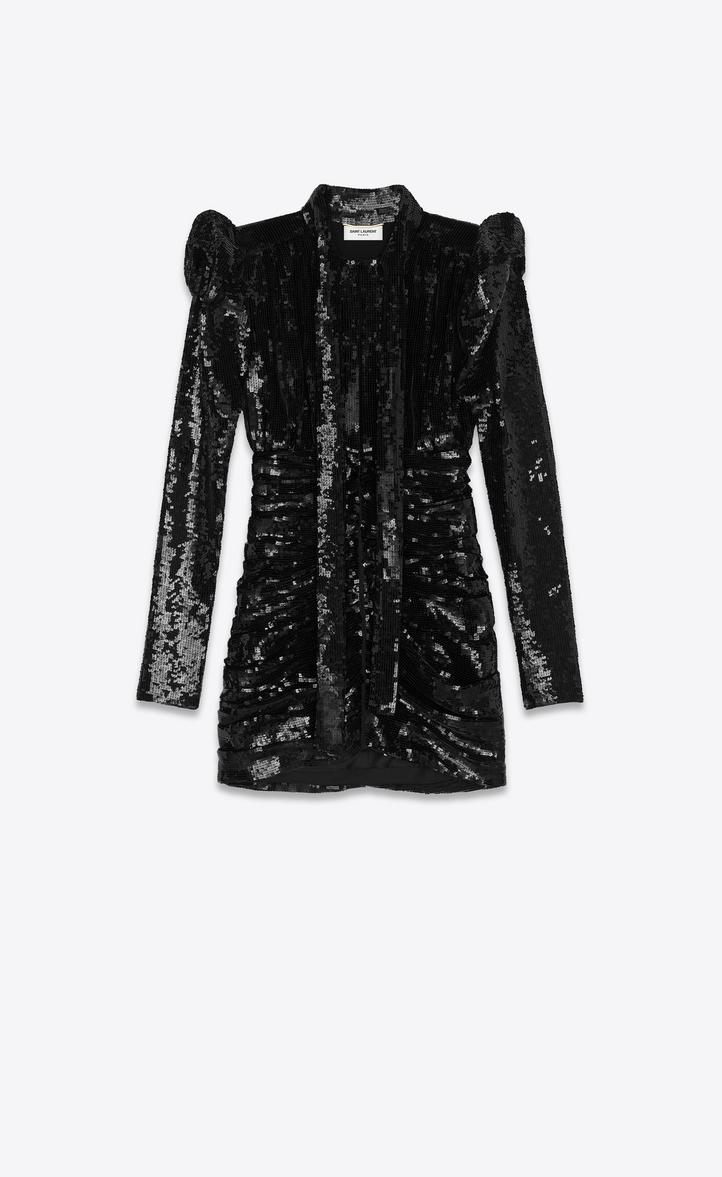 501ac65e6e814 Saint Laurent All Over Embroidered High Waisted LavalliÈRe Dress In Black