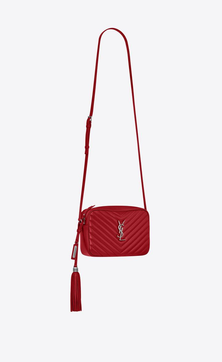 22aac1d2a523 SAINT LAURENT. Loulou Monogram Ysl Medium Chevron Quilted Leather Camera  Shoulder Bag in Red
