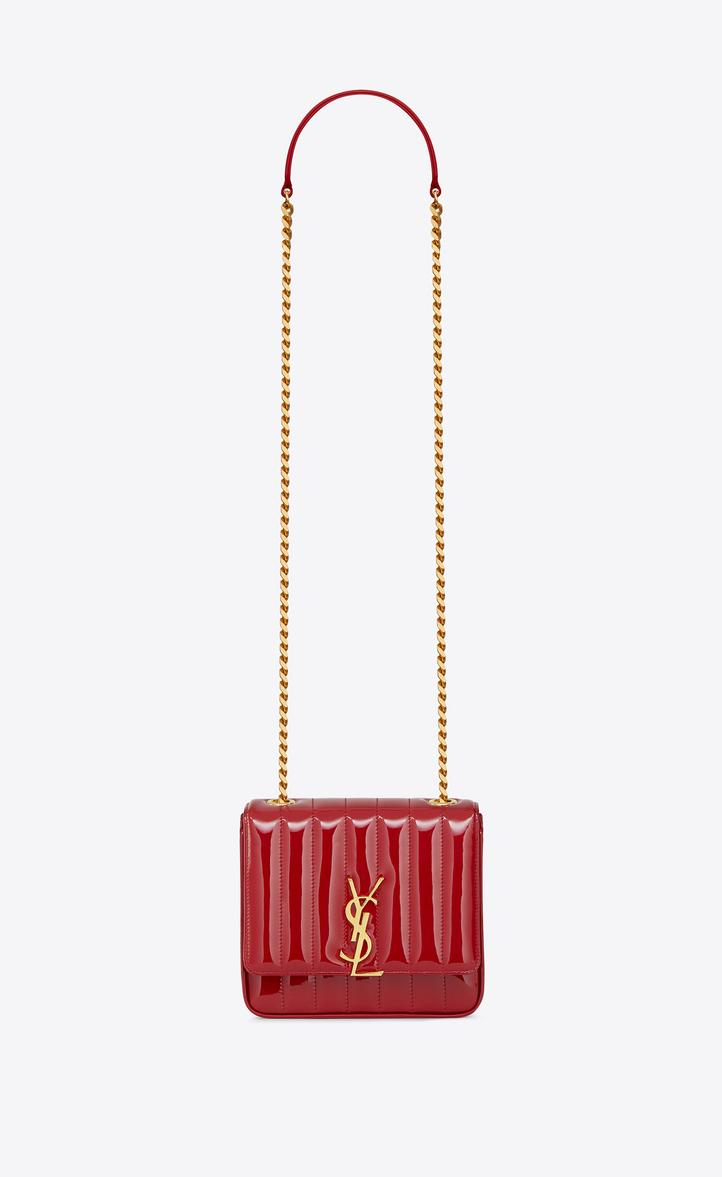 9baed357ec Saint Laurent Vicky Monogram Ysl Small Quilted Patent Leather Crossbody Bag  In 6805 -Rouge Eros
