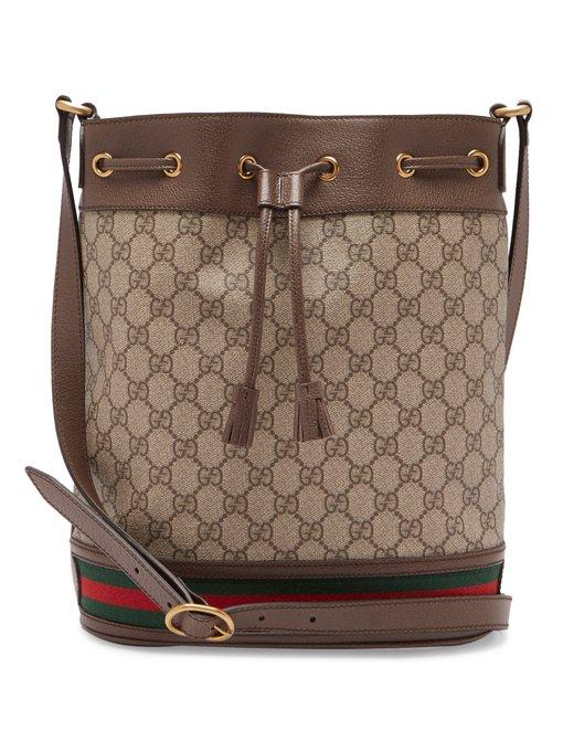 7c03d87039aec0 Gucci Ophidia Gg Supreme Canvas Drawstring Bucket Bag In 8745 Brown ...